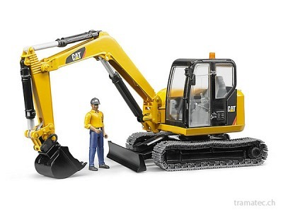 Bruder Cat Minibagger mit Bauarbeiter - 02466
